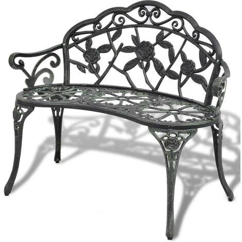 Hommoo Garden Bench 100 cm Cast Aluminium Green VD26835