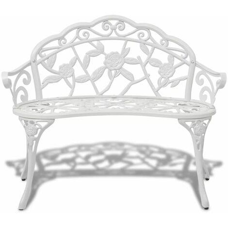 Hommoo Garden Bench 100 cm Cast Aluminium White QAH26836