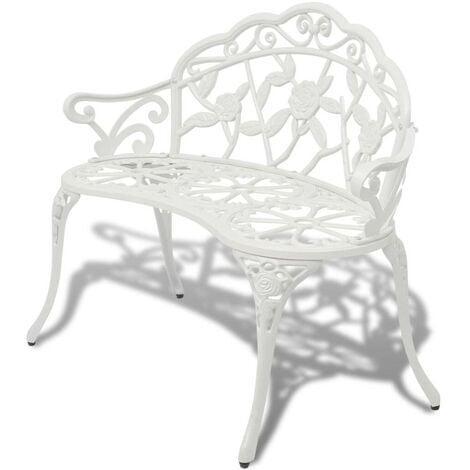 Hommoo Garden Bench 100 cm Cast Aluminium White VD26836