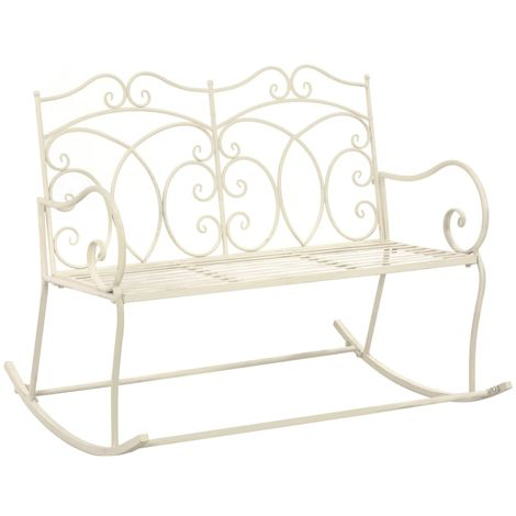 Hommoo Garden Bench 104 cm Iron Antique White