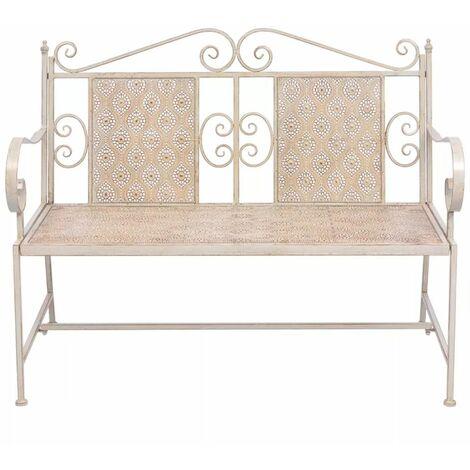 Hommoo Garden Bench 115 cm Steel White QAH27533