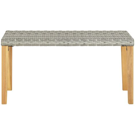 Hommoo Garden Bench 120 cm Grey Poly Rattan and Solid Acacia Wood QAH45540