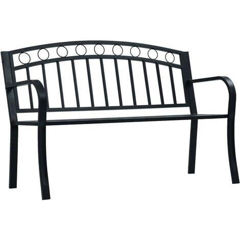 Hommoo Garden Bench 125 cm Black Steel