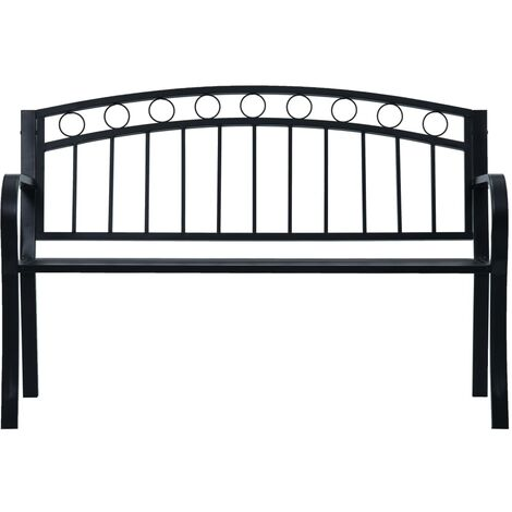 Hommoo Garden Bench 125 cm Black Steel QAH30284