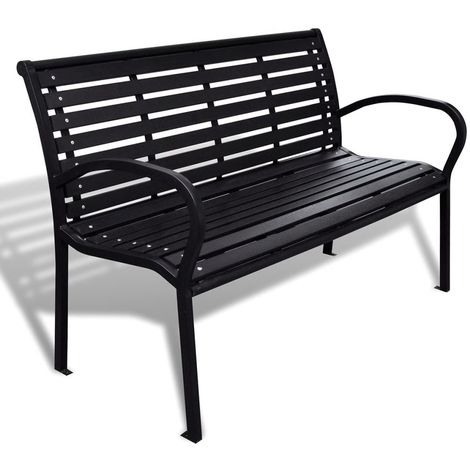 Hommoo Garden Bench 125 cm Steel and WPC Black