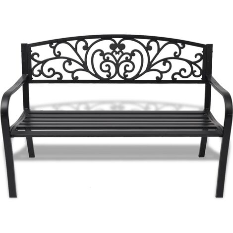 Hommoo Garden Bench 127 cm Cast Iron Black QAH26837
