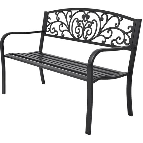 Hommoo Garden Bench 127 cm Cast Iron Black VD26837