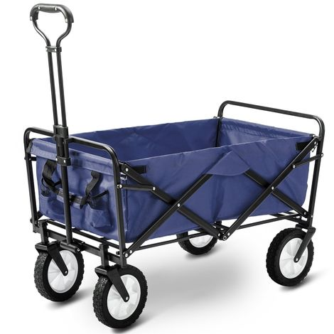 Hommoo Garden Cart Foldable Pull Wagon Hand Cart Garden Transport Cart Collapsible Portable Folding Cart (Blue)