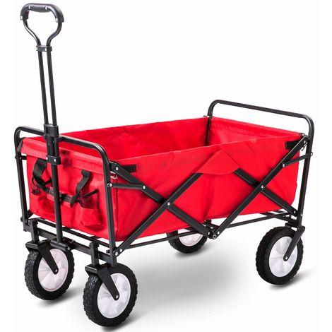 Hommoo Garden Cart Foldable Pull Wagon Hand Cart Garden Transport Cart Collapsible Portable Folding Cart (Red)