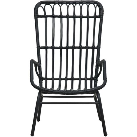Hommoo Garden Chair Poly Rattan Black QAH46567