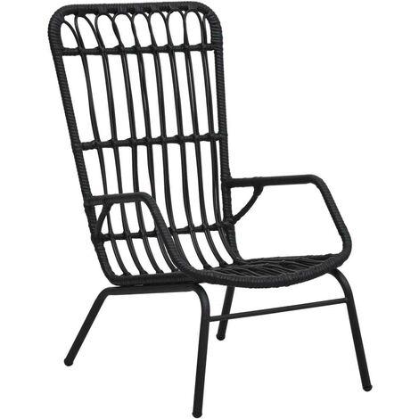 Hommoo Garden Chair Poly Rattan Black VD46567