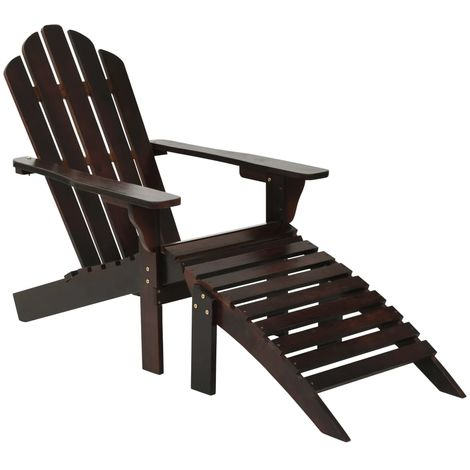 Hommoo Garden Chair with Ottoman Wood Brown VD29825