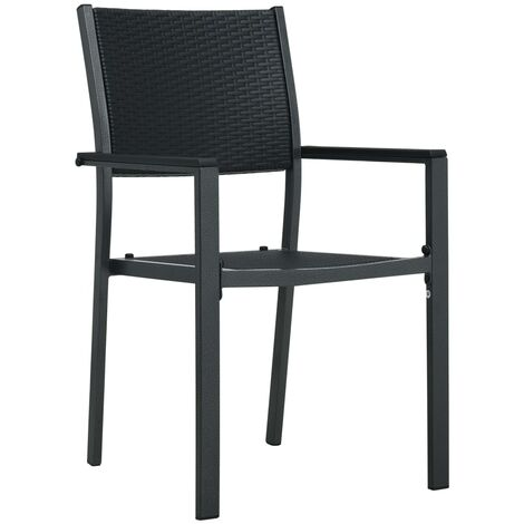 Hommoo Garden Chairs 2 pcs Black Plastic Rattan Look QAH30266