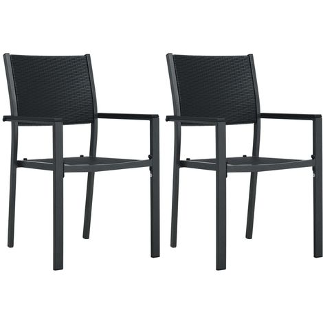 Hommoo Garden Chairs 2 pcs Black Plastic Rattan Look VD30266