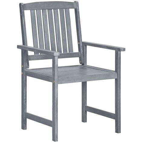 Hommoo Garden Chairs 2 pcs Grey Solid Acacia Wood QAH29916