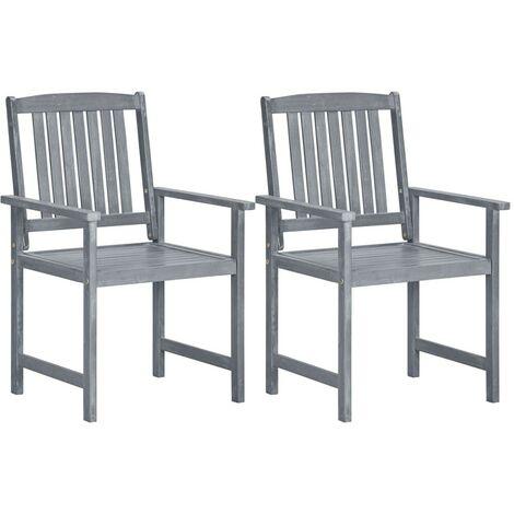 Hommoo Garden Chairs 2 pcs Grey Solid Acacia Wood VD29916