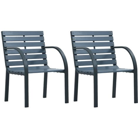 Hommoo Garden Chairs 2 pcs Grey Wood