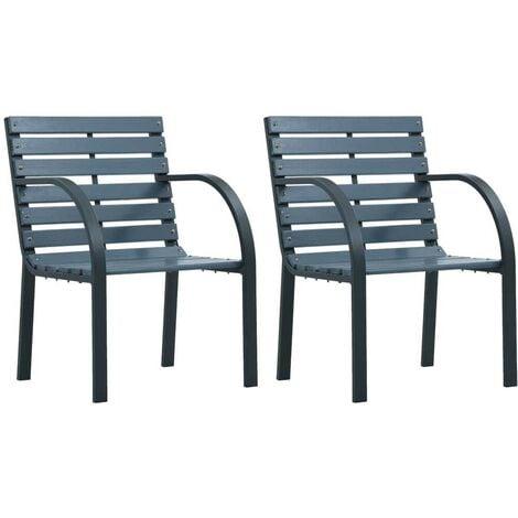 Hommoo Garden Chairs 2 pcs Grey Wood VD30277