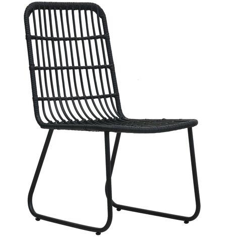 Hommoo Garden Chairs 2 pcs Poly Rattan Black QAH46570
