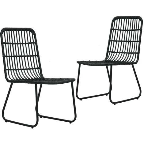 Hommoo Garden Chairs 2 pcs Poly Rattan Black VD46570