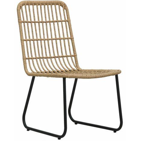 Hommoo Garden Chairs 2 pcs Poly Rattan Oak QAH46568