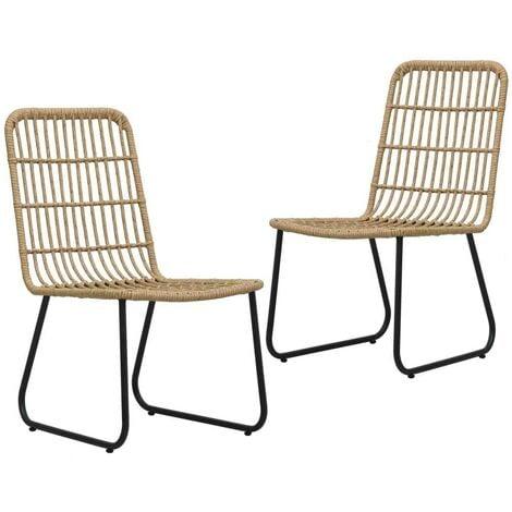 Hommoo Garden Chairs 2 pcs Poly Rattan Oak VD46568