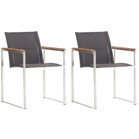 Hommoo Garden Chairs 2 pcs Textilene and Stainless Steel Grey