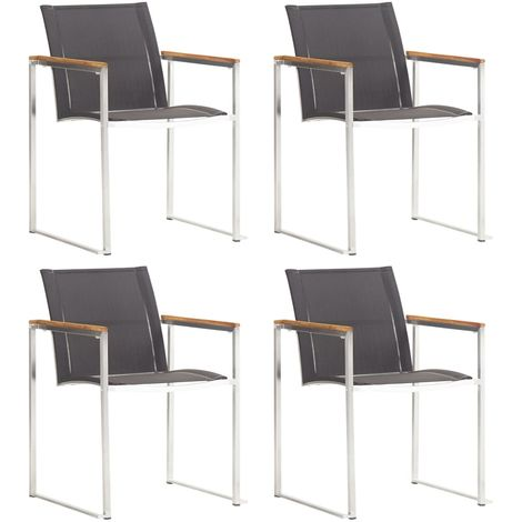 Hommoo Garden Chairs 4 pcs Textilene and Stainless Steel Grey
