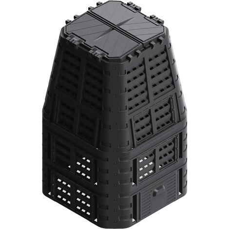 Hommoo Garden Composter Black 93.3x93.3x146 cm 880 L QAH35545