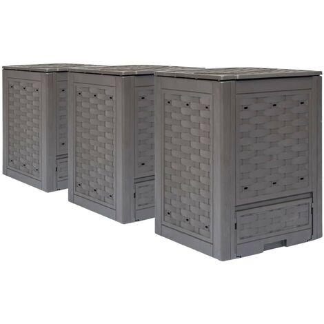Hommoo Garden Composters 3 pcs Brown 60x60x83cm 900 L