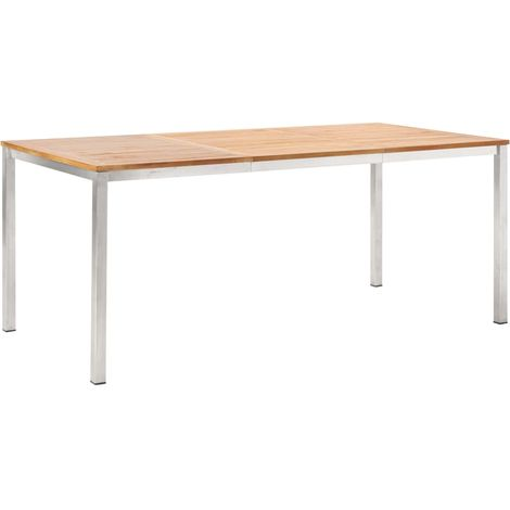 Hommoo Garden Dining Table 180x90x75 cm Solid Acacia Wood and Stainless Steel VD45549