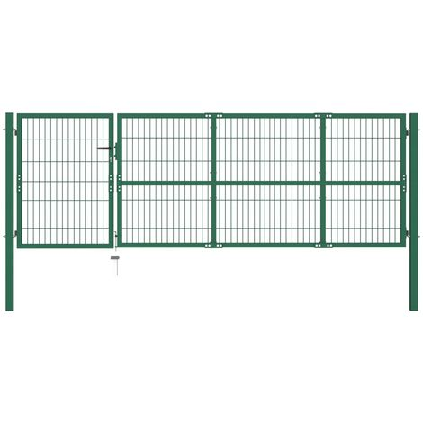 Hommoo Garden Fence Gate with Posts 350x100 cm Steel Green VD04691