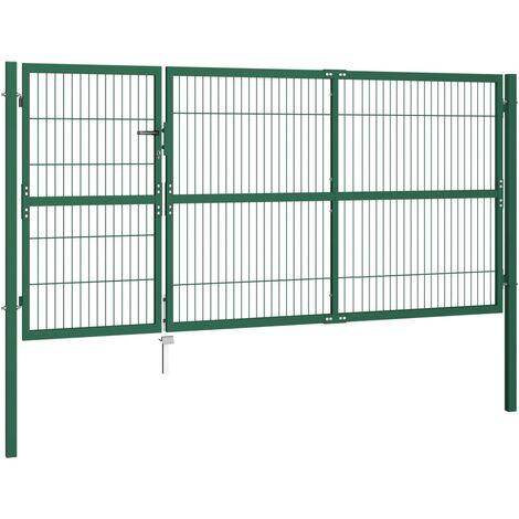 Hommoo Garden Fence Gate with Posts 350x140 cm Steel Green QAH04693