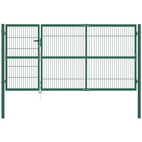 Hommoo Garden Fence Gate with Posts 350x140 cm Steel Green VD04693