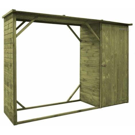 Hommoo Garden Firewood Tool Storage Shed FSC Pinewood 253x80x170 cm