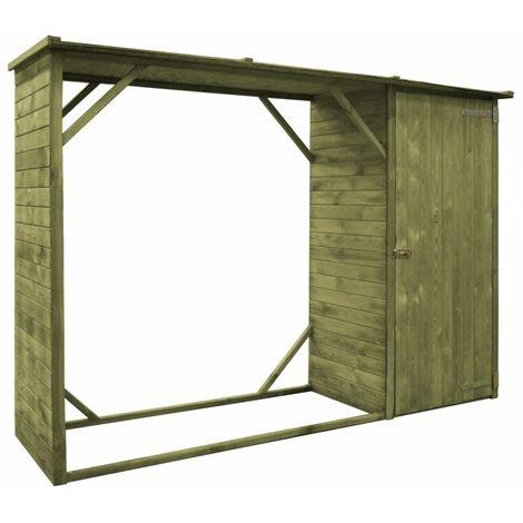 Hommoo Garden Firewood Tool Storage Shed Pinewood 253x80x170 cm QAH29289