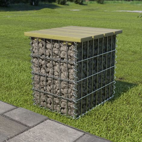 Hommoo Garden Footstool 40x40x45 cm Galvanised Steel FSC Pinewood VD18788
