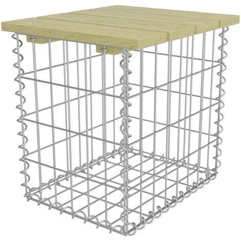 Hommoo Garden Footstool 40x40x45 cm Galvanised Steel Pinewood QAH18788