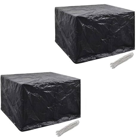 Hommoo Garden Furniture Covers 2pcs 4 Person Poly Rattan 113x113cm
