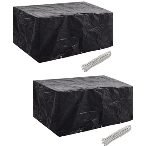 Hommoo Garden Furniture Covers 2pcs 6 Person Poly Rattan 240x140cm