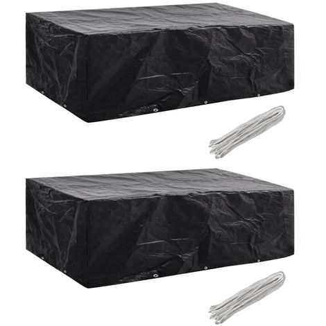 Hommoo Garden Furniture Covers 2pcs 8 Person Poly Rattan 300x140 cm