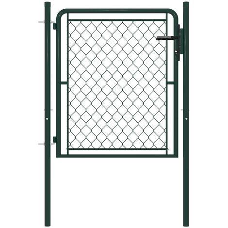 Hommoo Garden Gate Steel 100x100 cm Green VD34858