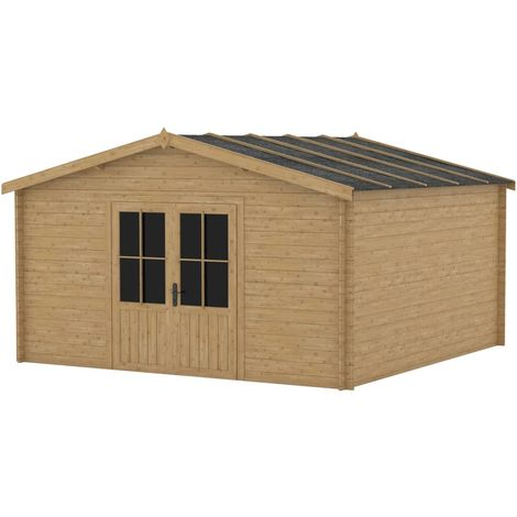Hommoo Garden House Shed 400x400 cm Wood 28 mm