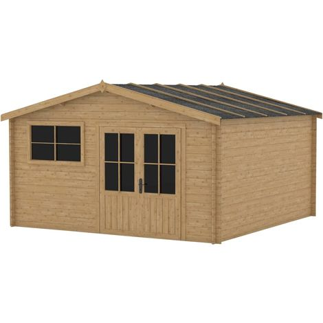 Hommoo Garden House Shed with Window 400x400 cm Wood 28 mm