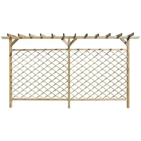 Hommoo Garden Lattice Fence with Pergola Top FSC Wood
