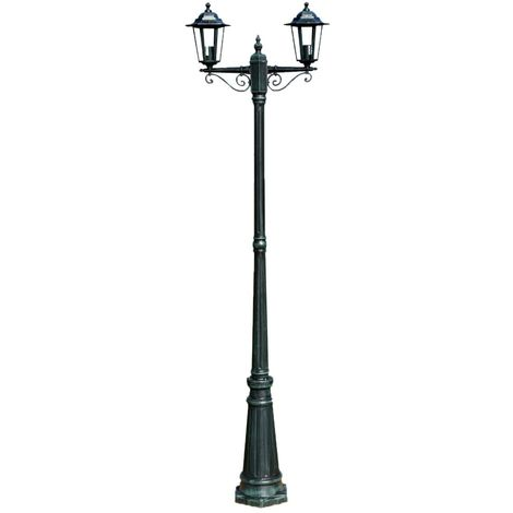 Hommoo Garden Light Post 2-arms 215 cm Dark Green/Black Aluminium