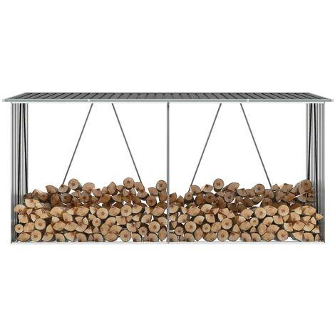Hommoo Garden Log Storage Shed Galvanised Steel 330x84x152 cm Anthracite VD45686