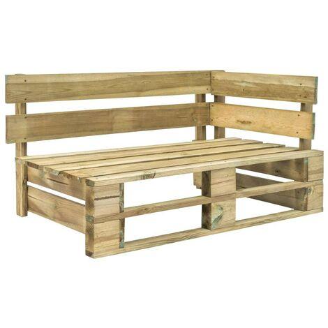 Hommoo Garden Pallet Corner Bench FSC Wood Green VD28883