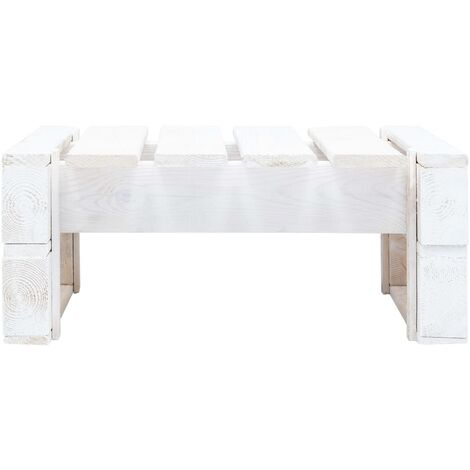 Hommoo Garden Pallet Ottoman Wood White QAH29875