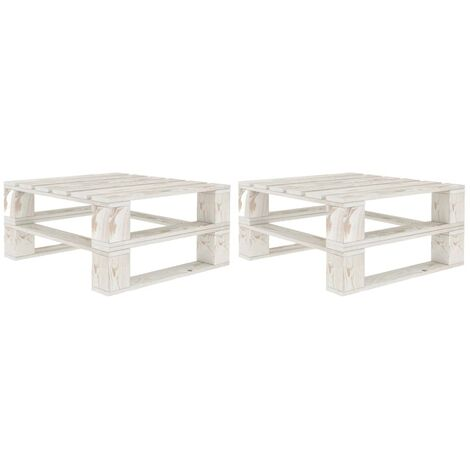 Hommoo Garden Pallet Tables 2 pcs White Wood